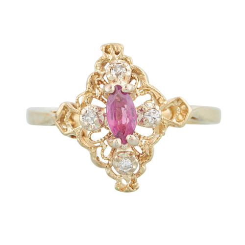 Second Hand 10ct Gold Marquise Ruby and Diamond Navette Ring
