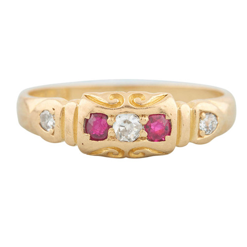 Second Hand Antique Victorian 18ct Gold Ruby & Diamond 5 Stone Ring