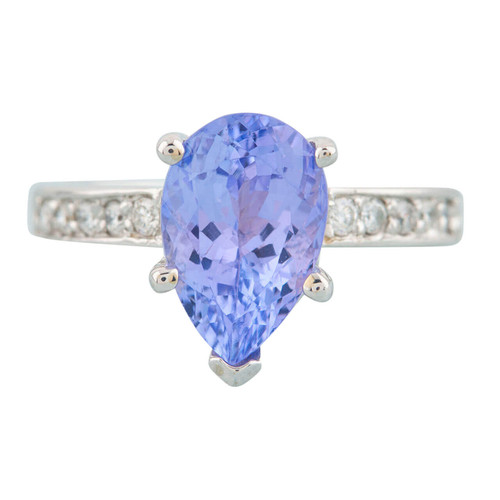 Second Hand 14ct White Gold Pear Cut Tanzanite Solitaire with Diamond Shoulders