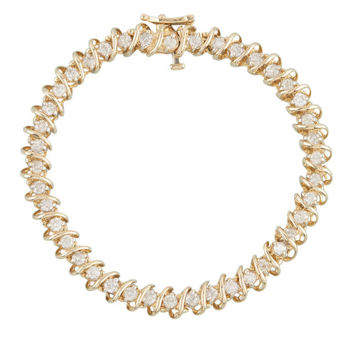 Second Hand 14ct Gold 3 Carat Diamond Tennis Bracelet