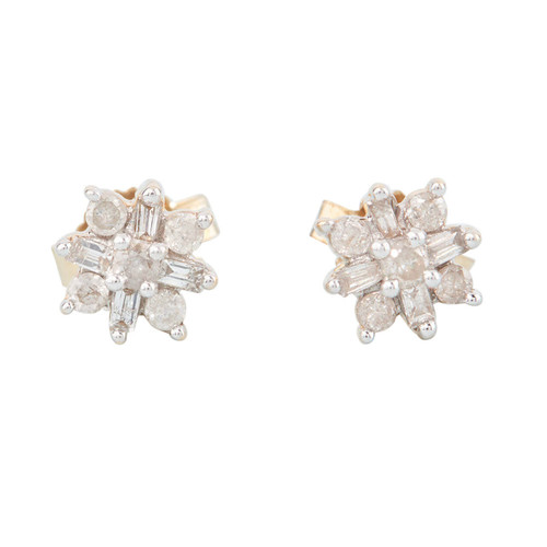 Second Hand 9ct Gold Diamond Cluster Stud Earrings
