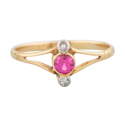 Antique Art Deco 18ct Gold Ruby and Diamond 3 Stone Ring