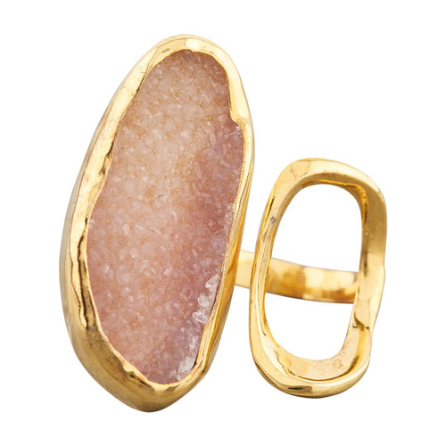 NEW Gold Vermeil Crystalised Rose Quartz Twin Faced Ring
