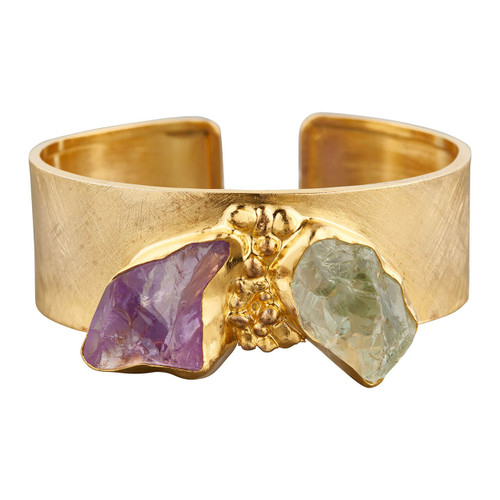 NEW Gold Vermeil Raw Purple and Green Amethyst Wide Bracelet