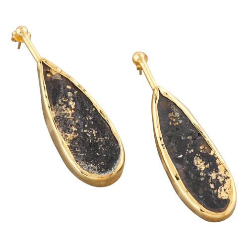 NEW Gold Vermeil Slade Pyrite Drop Earrings