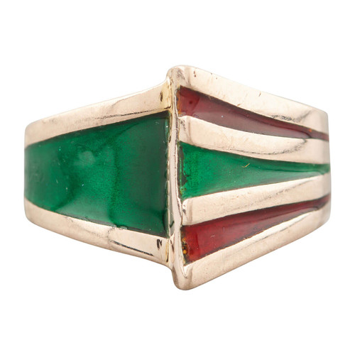 Second Hand 9ct Gold Green & Red Enamel 1970s Dress Ring