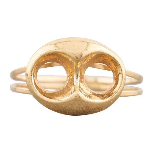 Second Hand 18ct Gold Openwork Oval Button Ring