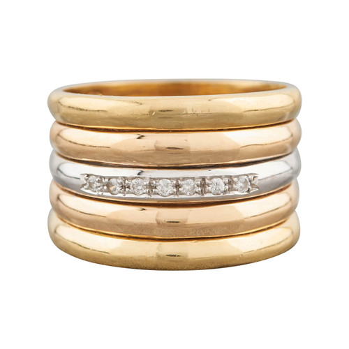 Second Hand 18ct 3 Colour Gold Wide Diamond Set Band Ring