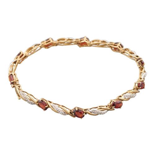 "Second Hand 9ct Gold Garnet and Diamond 7 ¾"" Bracelet"