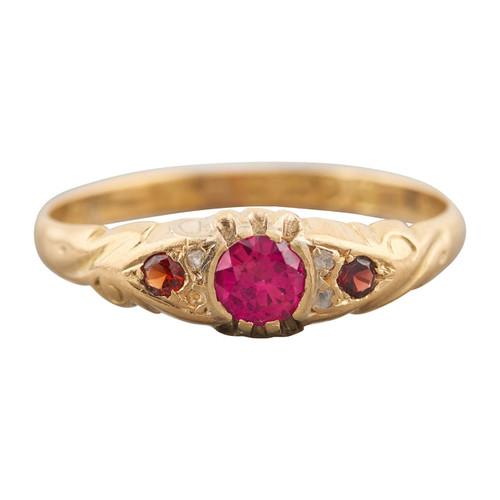 Antique 1912 18ct Gold Spinel, Garnet and Diamond Half Hoop Ring