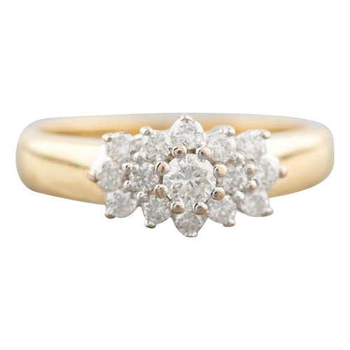 Second Hand 18ct Gold 0.50 Carat Diamond Cluster Ring