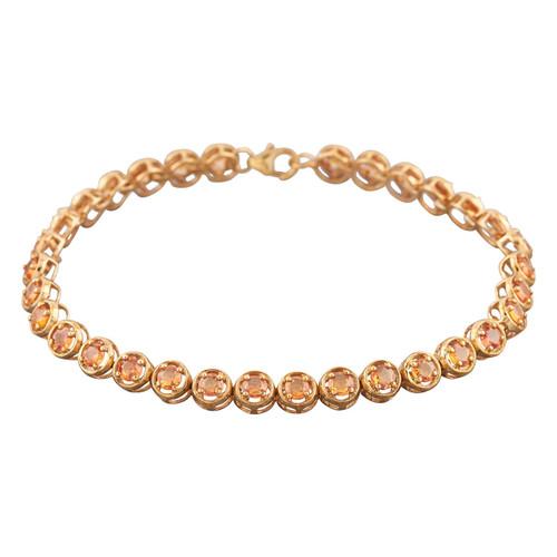 "Second Hand 9ct Gold Orange Sapphire 8"" Line Bracelet"