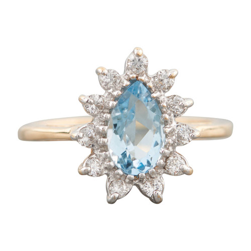Second Hand 14ct Gold Pear Cut Aquamarine and Diamond Cluster Ring