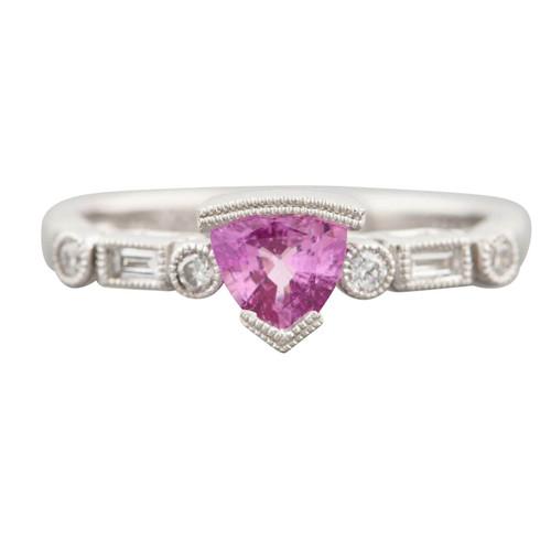 Second Hand 14ct White Gold Trillion Cut Pink Tourmaline and Diamond Dress Ring