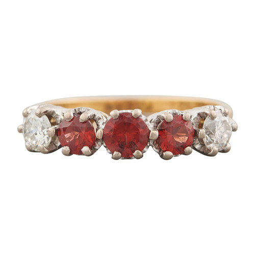 Second Hand 1970s 18ct Gold Garnet and Diamond Five Stone Ring