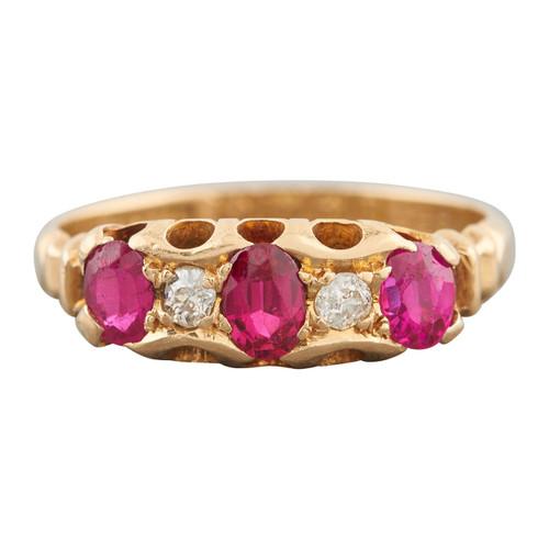 Antique 1917 18ct Gold Ruby & Diamond Half Hoop Ring