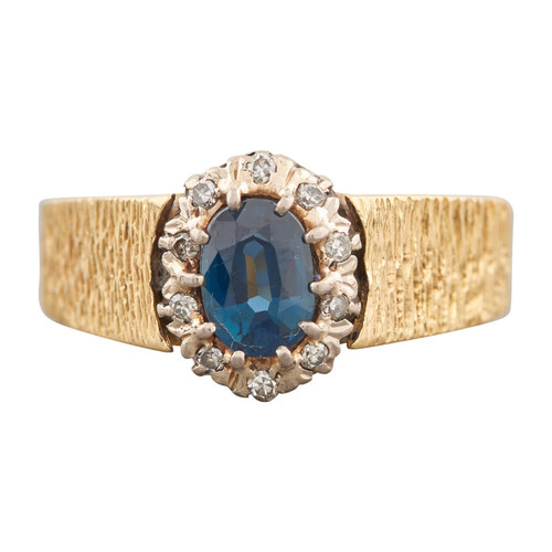 Second Hand 1970s 18ct Gold Topaz and Diamond Cluster Ring