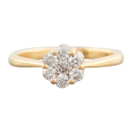 18ct Gold 7 Stone Diamond Flower Cluster Ring