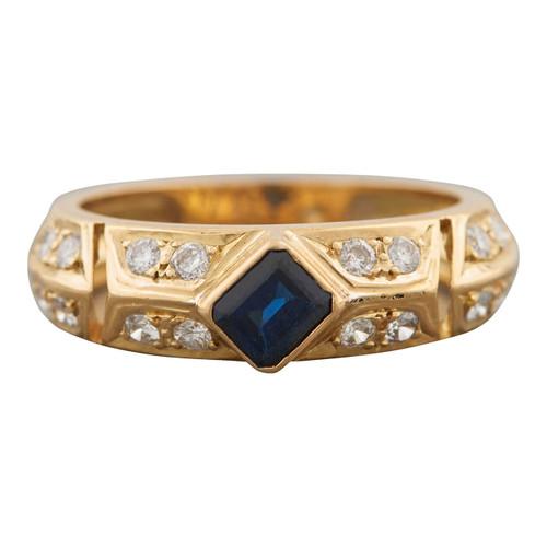 Second Hand 18ct Gold Rectangular Sapphire and Diamond Dress Ring