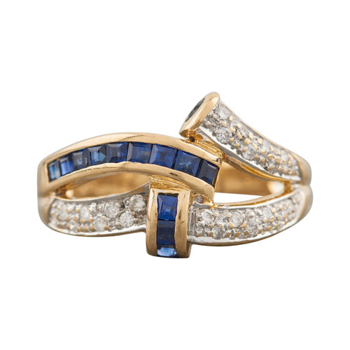 Second Hand 18ct Gold Asymmetric Sapphire & Diamond Dress Ring