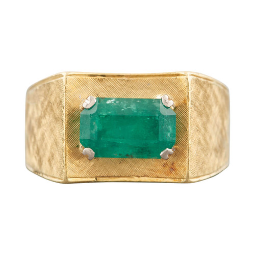 Vintage 18ct Gold Emerald Wide Textured Band Ring