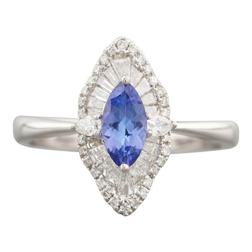 Second Hand 18ct Gold Marquise Tanzanite Navette Ring