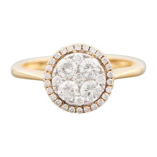 Second Hand 18ct Gold 1 Carat Diamond Halo Cluster Ring