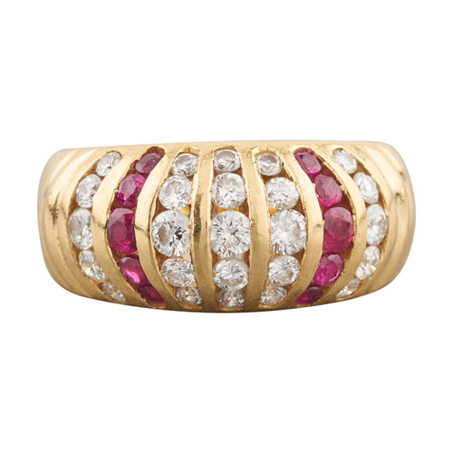 Second Hand 18ct Gold Ruby and Diamond Band Ring