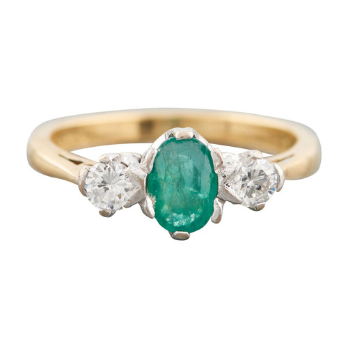 Second Hand 18ct Gold Emerald and Diamond 3 Stone Ring