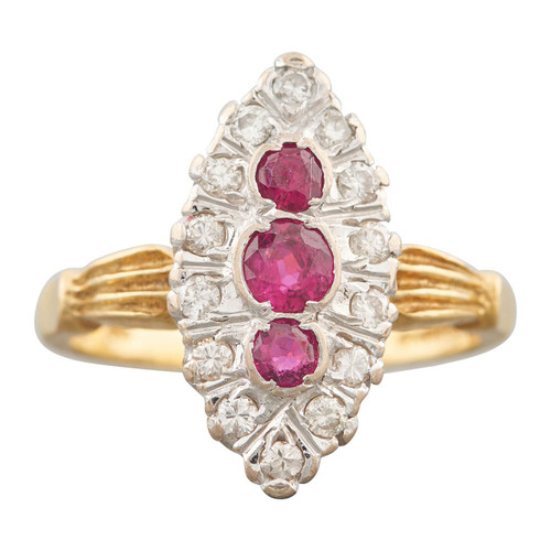 18ct Gold Second Hand Ruby and Diamond Marquise Ring