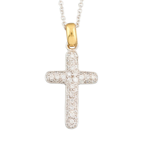 Second Hand 18ct Gold Pavé Diamond Cross Pendant with Chain