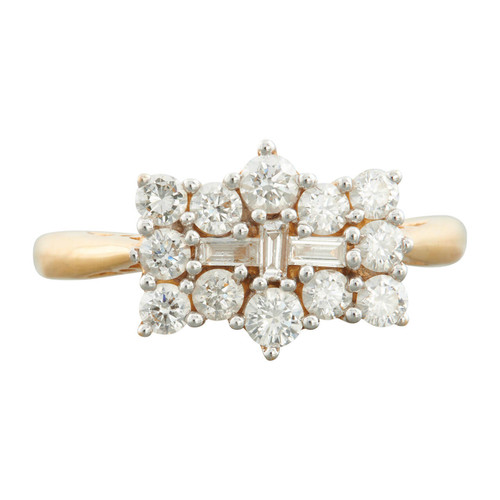 Second Hand 18ct Gold Baguette and Brilliant Cut Diamond Cluster Ring