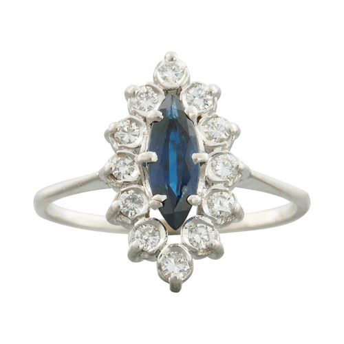 Second Hand 18ct White Gold Marquise Sapphire and Diamond Navette Cluster Ring