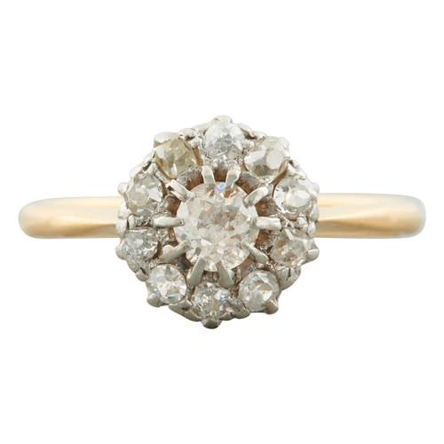 Antique 18ct Gold 0.75 Carat Old Cut Diamond Cluster Ring