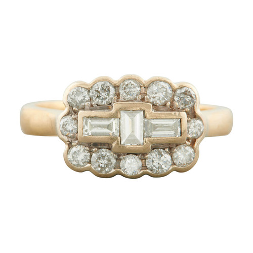 Second Hand 18ct Gold Brilliant and Baguette Cut Diamond Cluster Ring