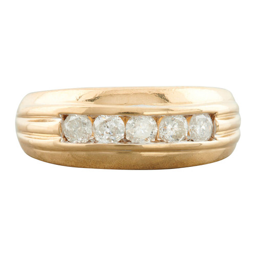 Second Hand 9ct Gold Wide 5 Stone Diamond Ring