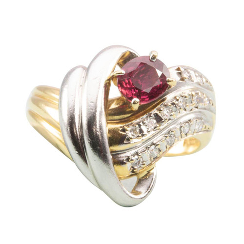 Second Hand 18ct Gold Ruby & Diamond Twist Cocktail Ring