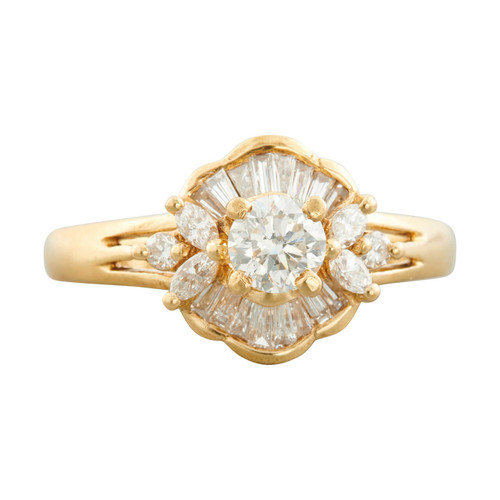 Second Hand 18ct Gold Diamond Cocktail Cluster Ring