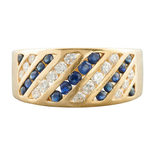 Second Hand 18ct Gold Sapphire and Diamond Wide Band Ring