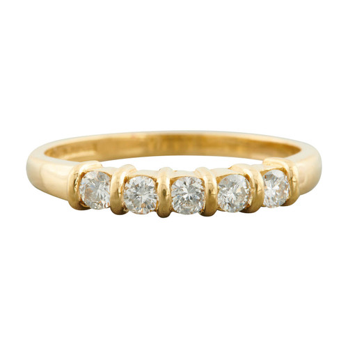 Second Hand 18ct Gold Tension Set 5 Stone Diamond Ring