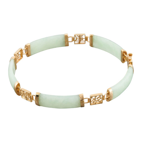 Second Hand 9ct Gold Jade and Chinese Character Bracelet