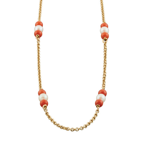 Second Hand 14ct Gold Coral and Pearl Necklace