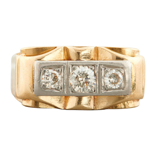 Vintage 1940s 18ct Gold Wide 3 Stone Diamond Ring