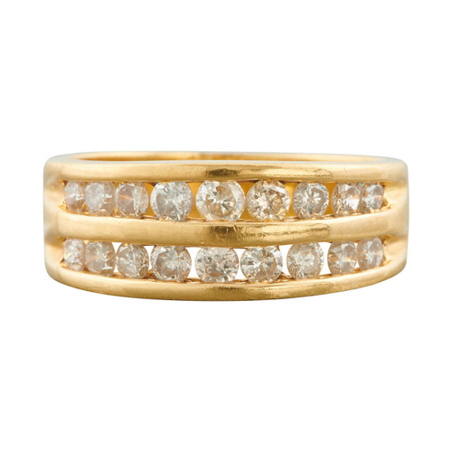 Second Hand 18ct Gold Two Row Diamond Eternity Ring