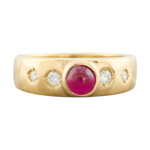 Second Hand 18ct Gold Cabochon Ruby and Diamond Gypsy Ring