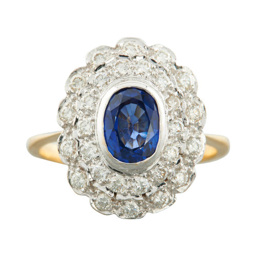 Second Hand 18ct Gold Sapphire and 2 Row Diamond Cluster Ring