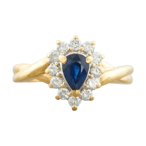 Second Hand 18ct Gold Pear Cut Sapphire and Diamond Cluster Ring
