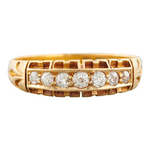 Antique Victorian 18ct Gold 7 Stone Diamond Ring