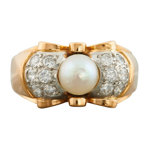 Vintage 1940s 18ct Gold Pearl and Diamond Cocktail Ring