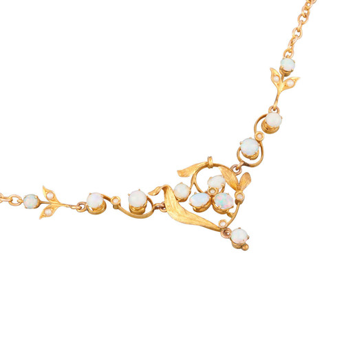 Antique Art Noveau 9ct Gold Opal Floral Necklace